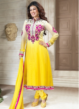 Sunshine Yellow And Off White Bollywood Suit