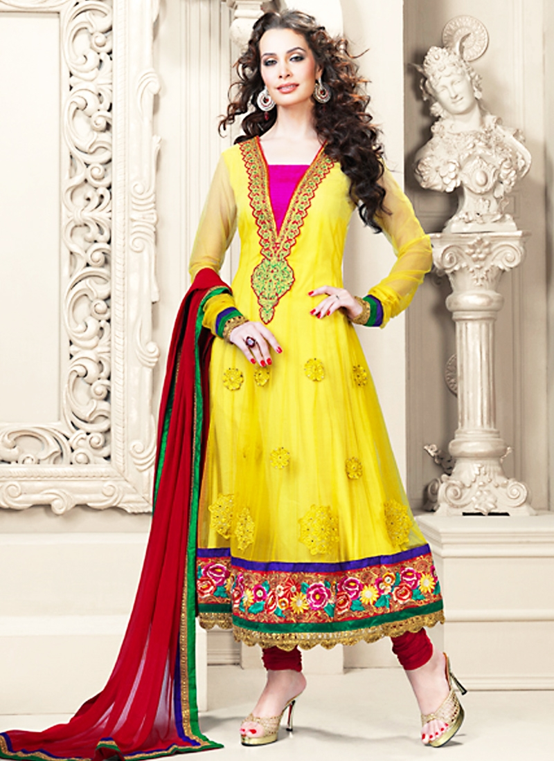 Sunshine Yellow Net Wedding Suit