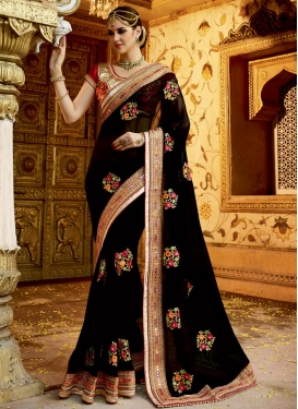 Superb Beads Work Faux Georgette Trendy Designer Saree