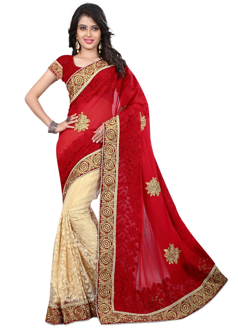 Superb Booti And Beads Work Half N Half Wedding Saree