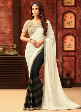 Superb  Faux Georgette Designer Half N Half Saree