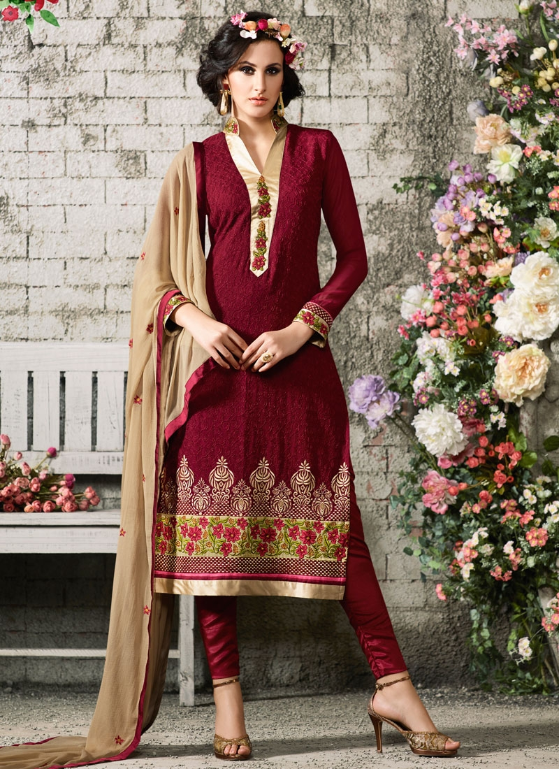 Superb Lace And Chicken Work Party Wear Salwar Suit