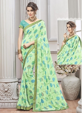 Superb Lace Work  Faux Chiffon Trendy Classic Saree