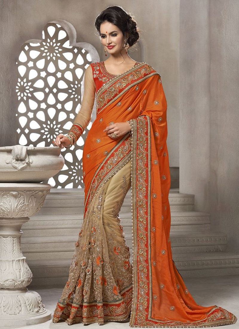 Superb Resham And Lace Work Half N half Wedding Saree