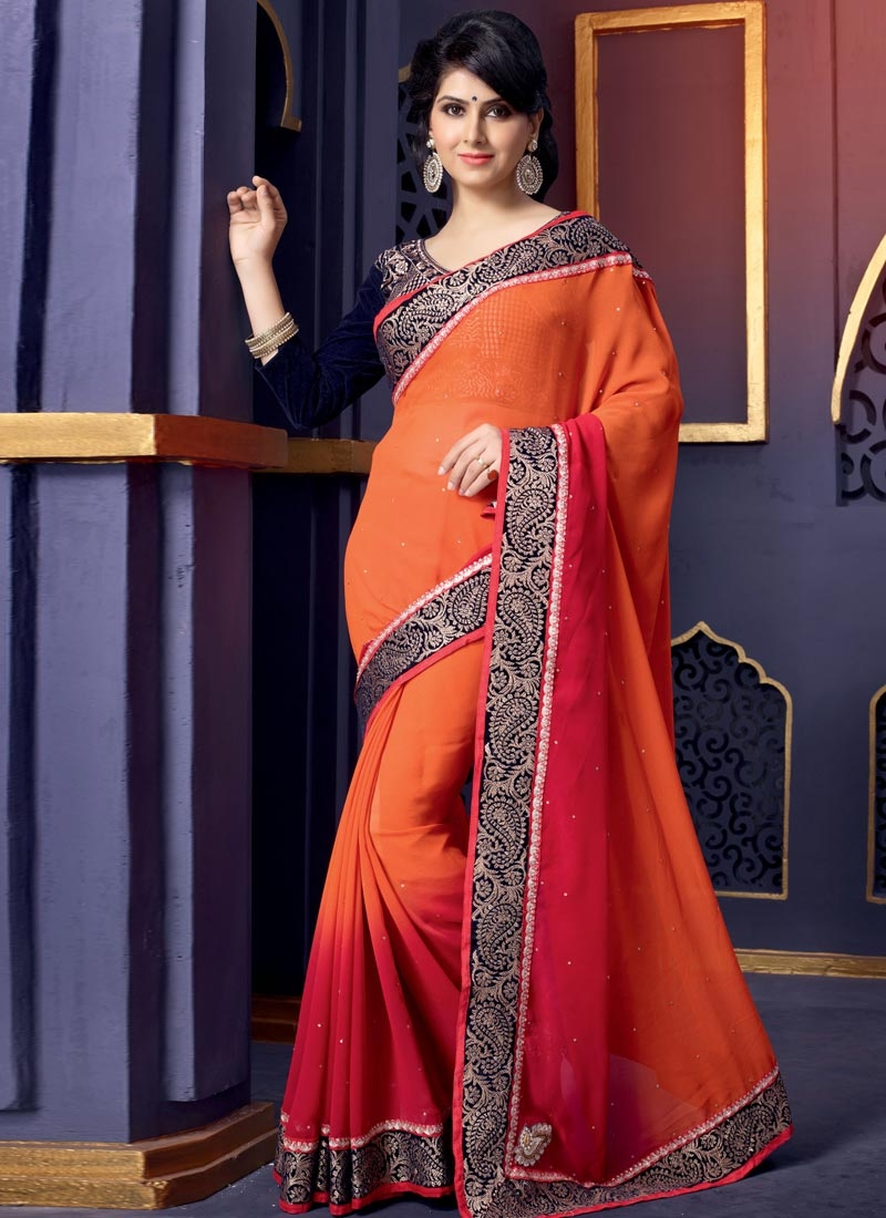 Superb Stones Enhanced Georgette Wedding Saree