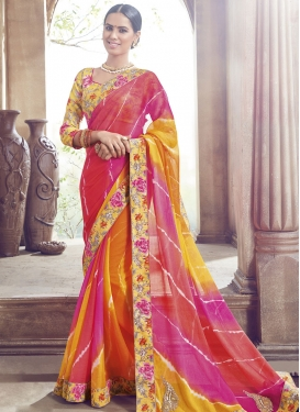 Superlative Bandhej Print Work Party Wear Saree