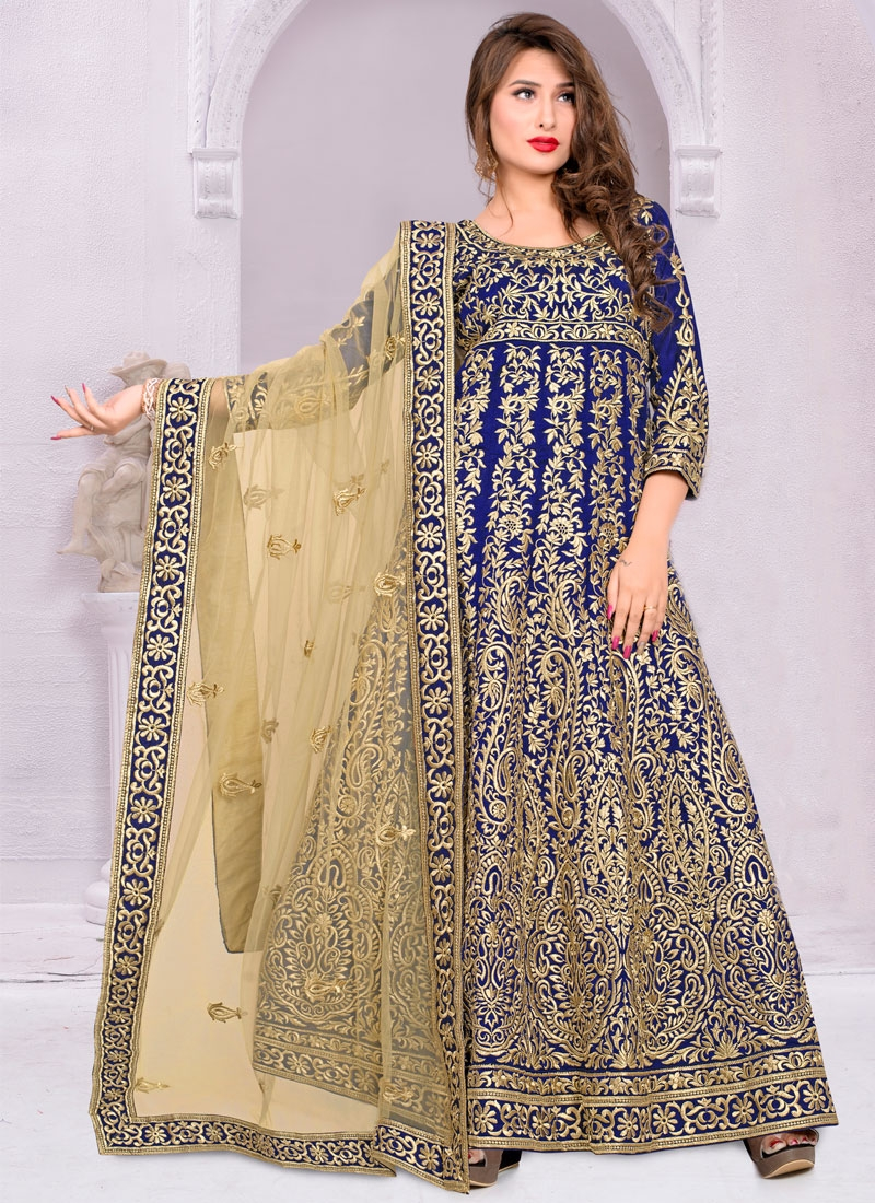 Superlative Banglori Silk Long Length Anarkali Salwar Kameez