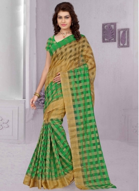 Superlative Beige And Green Color Art Silk Casual Saree