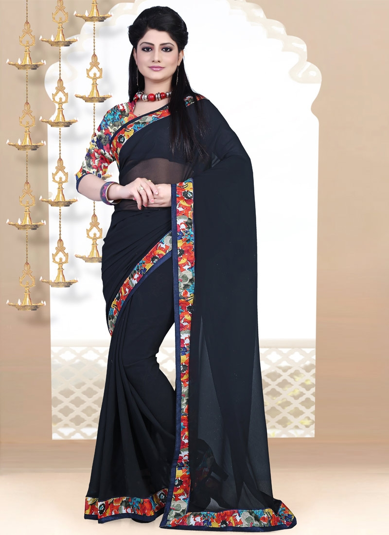 Superlative Black Color Lace Work Casual Saree