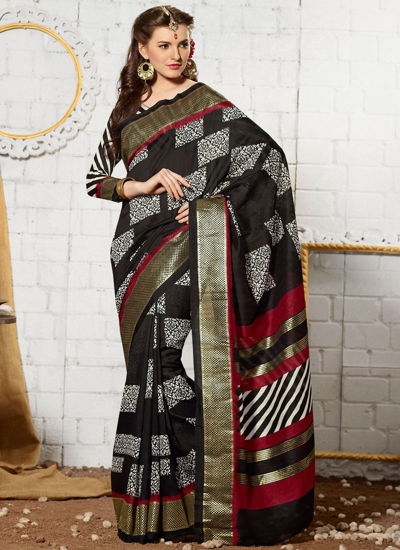 Superlative Black Color Printed Casual Saree