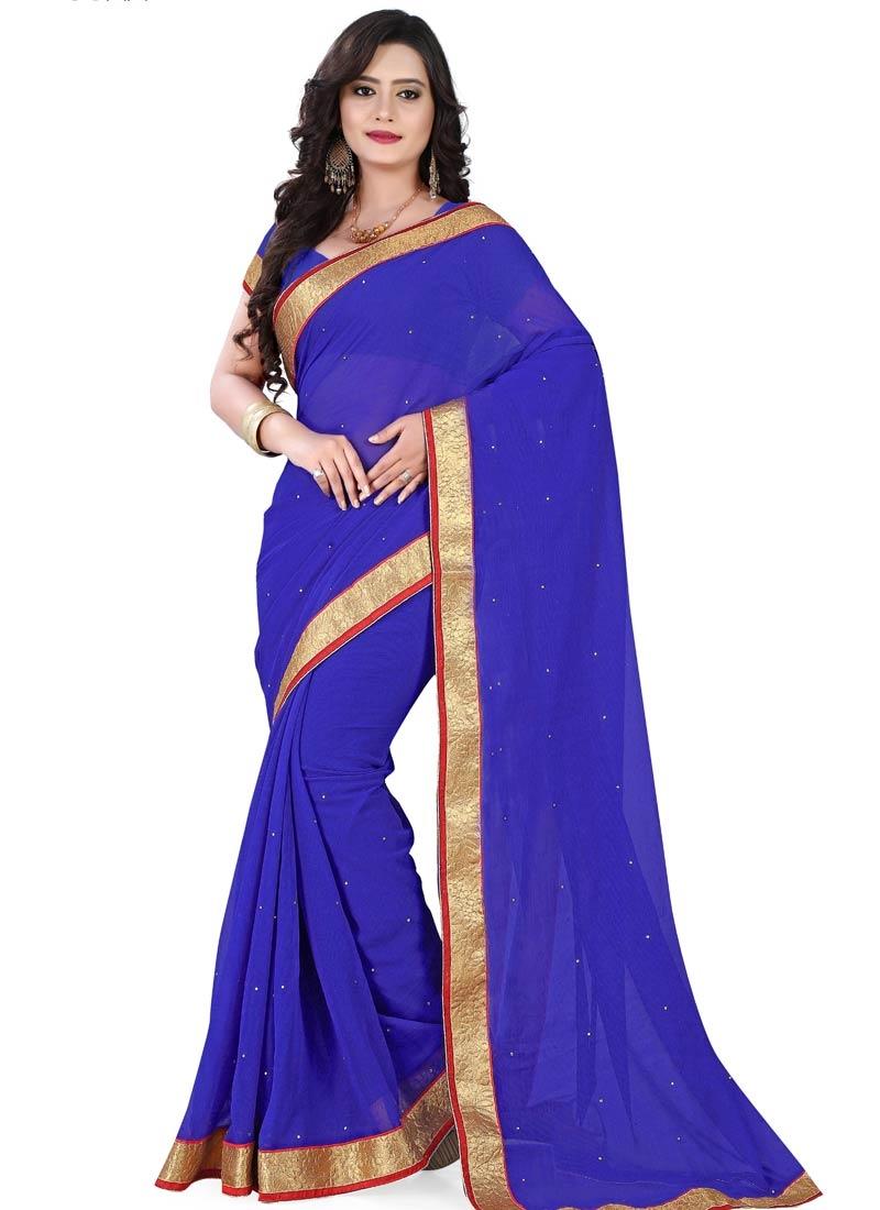 Superlative Blue Color Lace Work Casual Saree