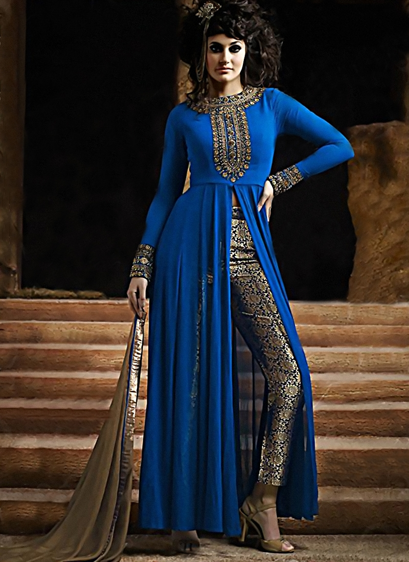 Superlative Blue Color Pant Style Designer Suit