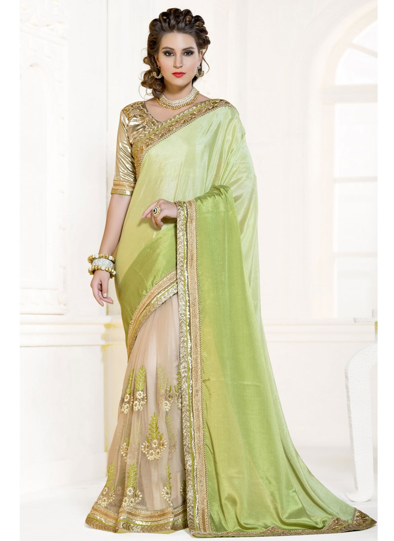 Superlative Booti And Sequins Work Half N Half Party Wear Saree