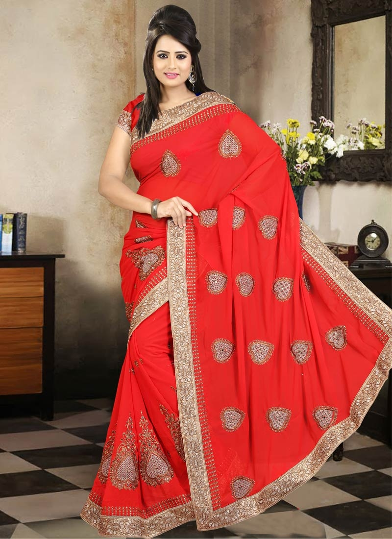 Superlative Booti And Stone Work Party Wear Saree
