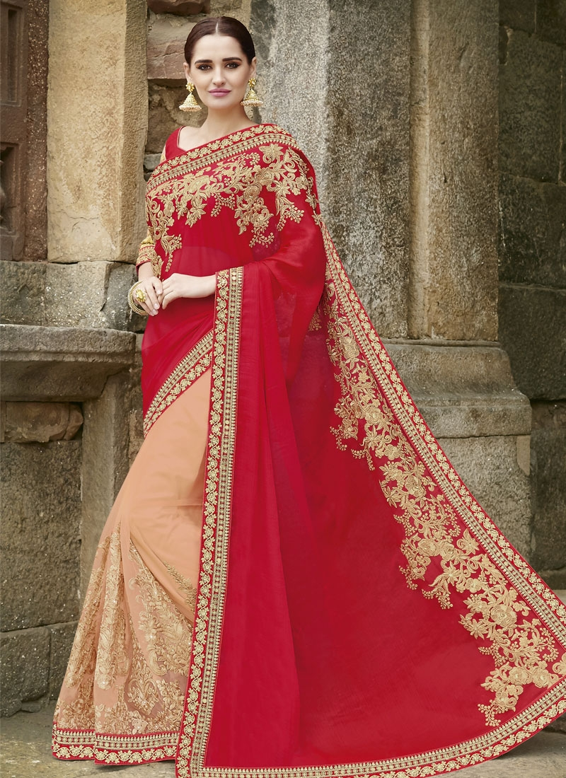 Superlative Booti Work Net Half N Half Wedding Saree