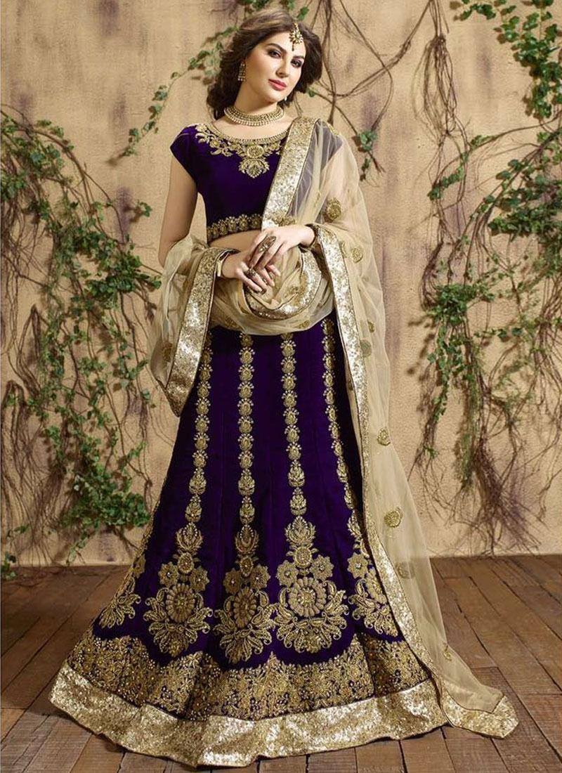 Superlative Booti Work Velvet Wedding Lehenga Choli