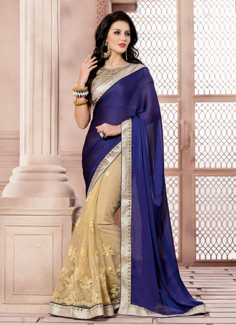 Superlative Chiffon Satin Mirror Work Half N Half Designer Saree