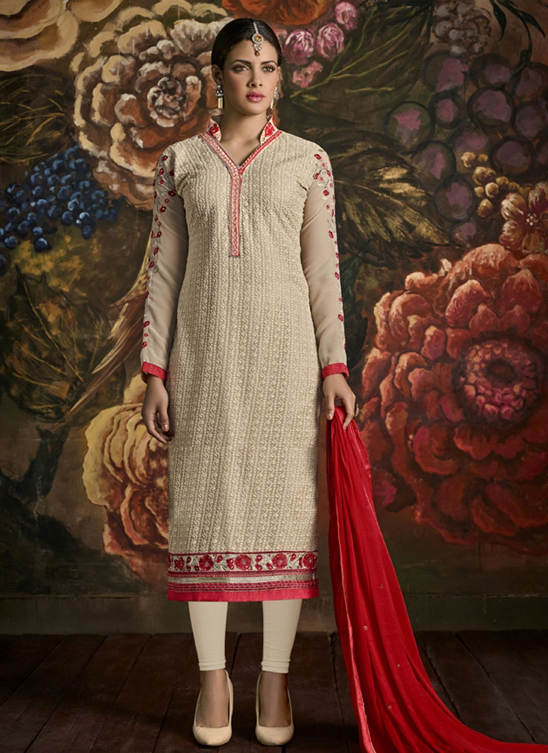 Superlative Cream Color Faux Georgette Party Wear Suit