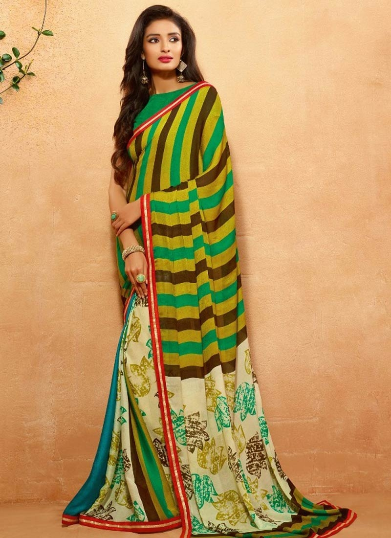 Superlative Crepe Jacquard Lace Work Casual Saree