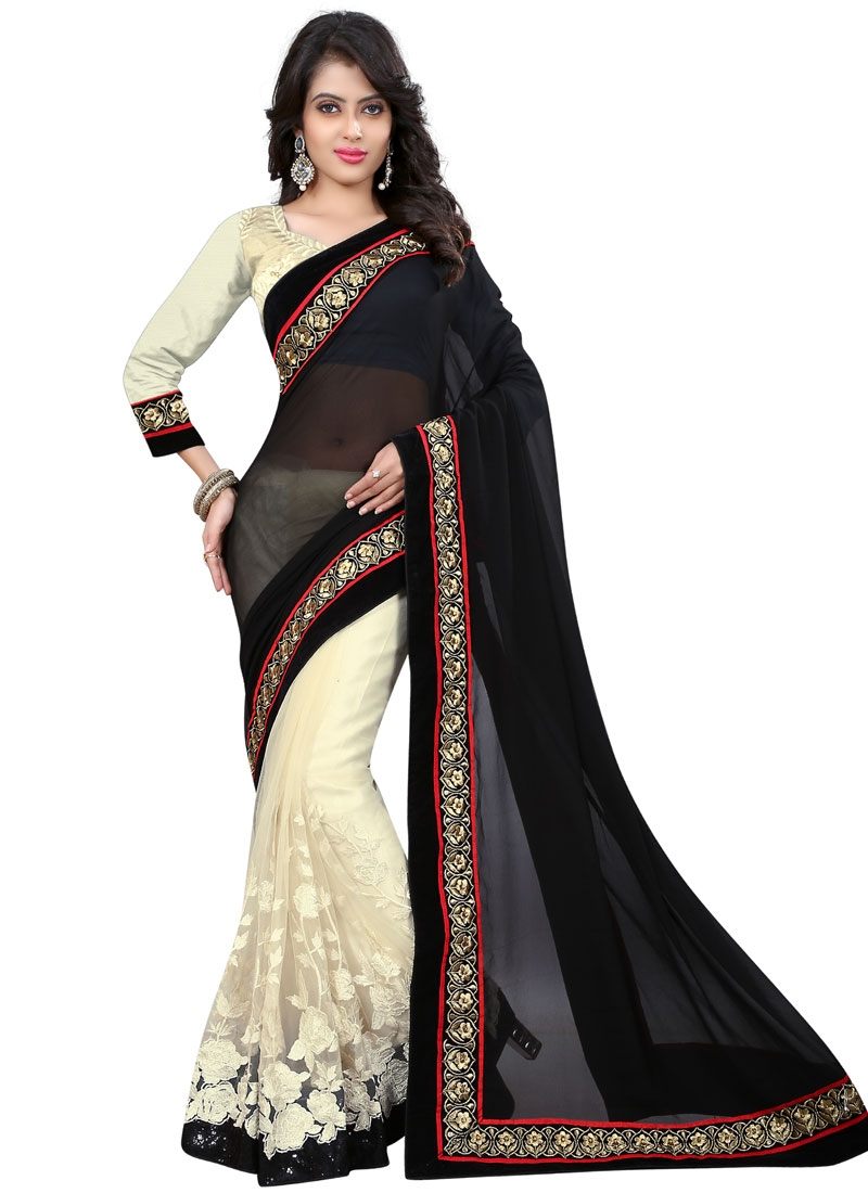 Superlative Embroidery And Sequins Work Half N Half Designer Saree
