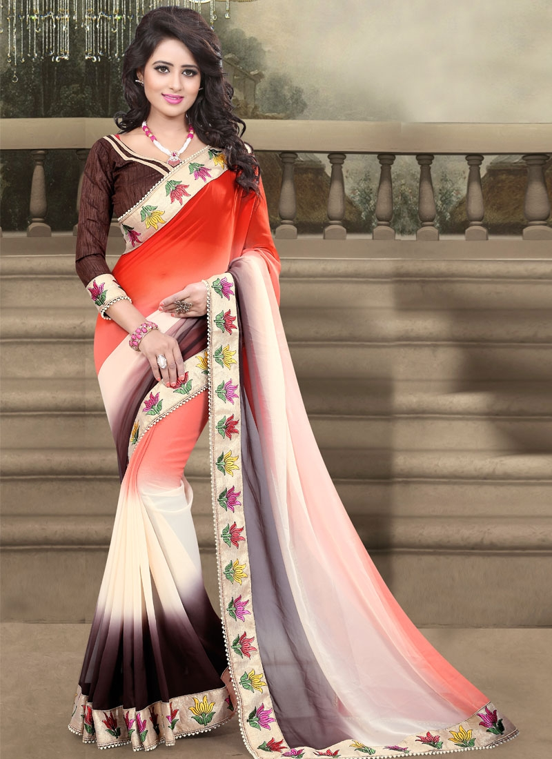 Superlative Faux Georgette Beads Work Party Wear Saree