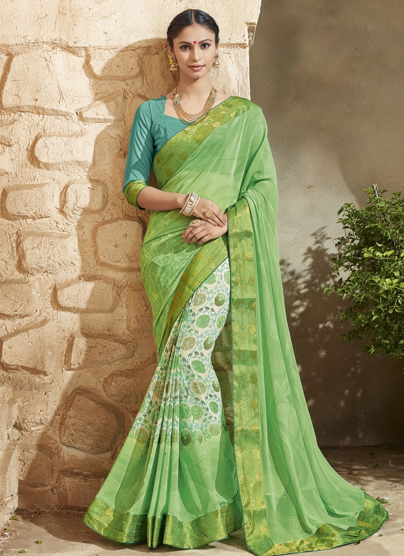Superlative Faux Georgette Digital Print Work Half N Half Party Wear Saree