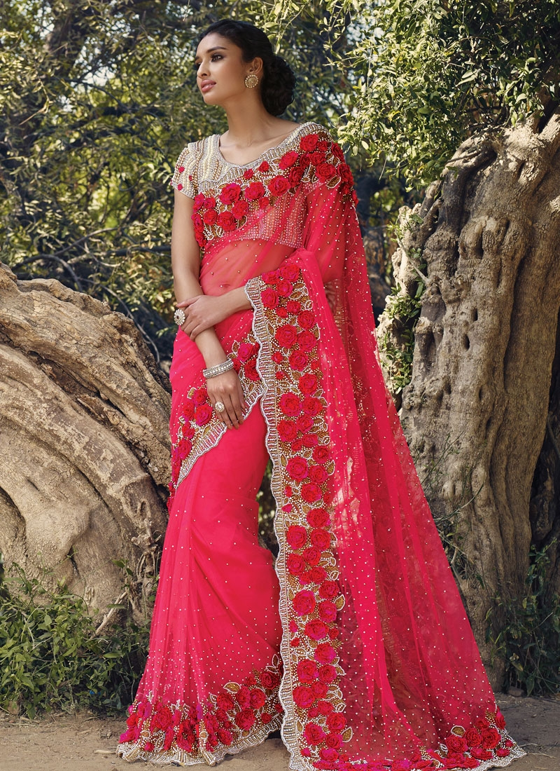 Superlative Floral And Beads Work Bridal Saree