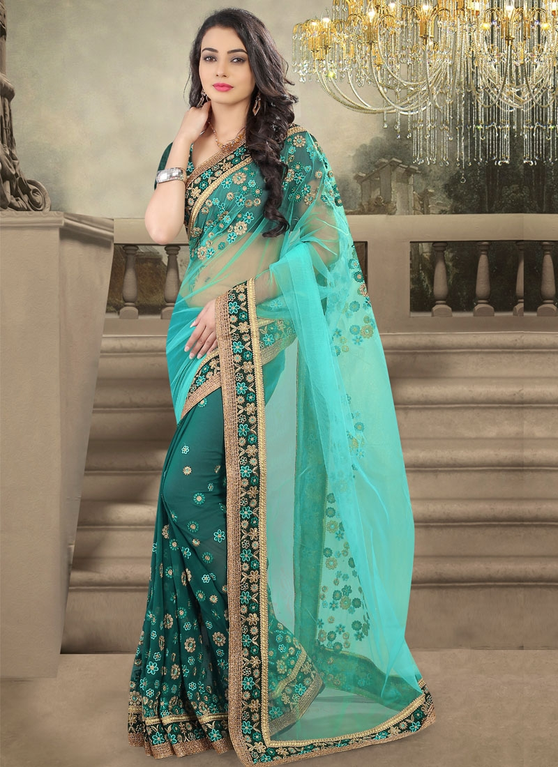Superlative Floral And Lace Work Half N Half Wedding Saree