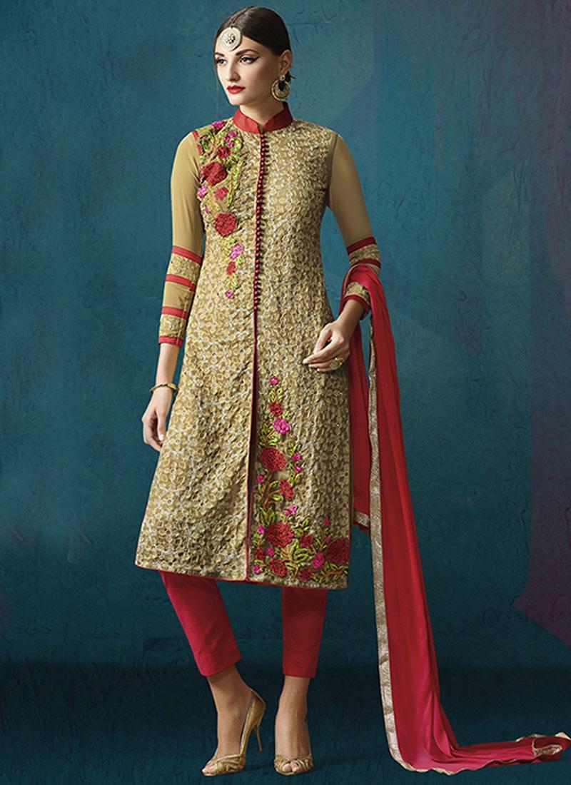 Superlative Floral Work Pant Style Designer Salwar Kameez