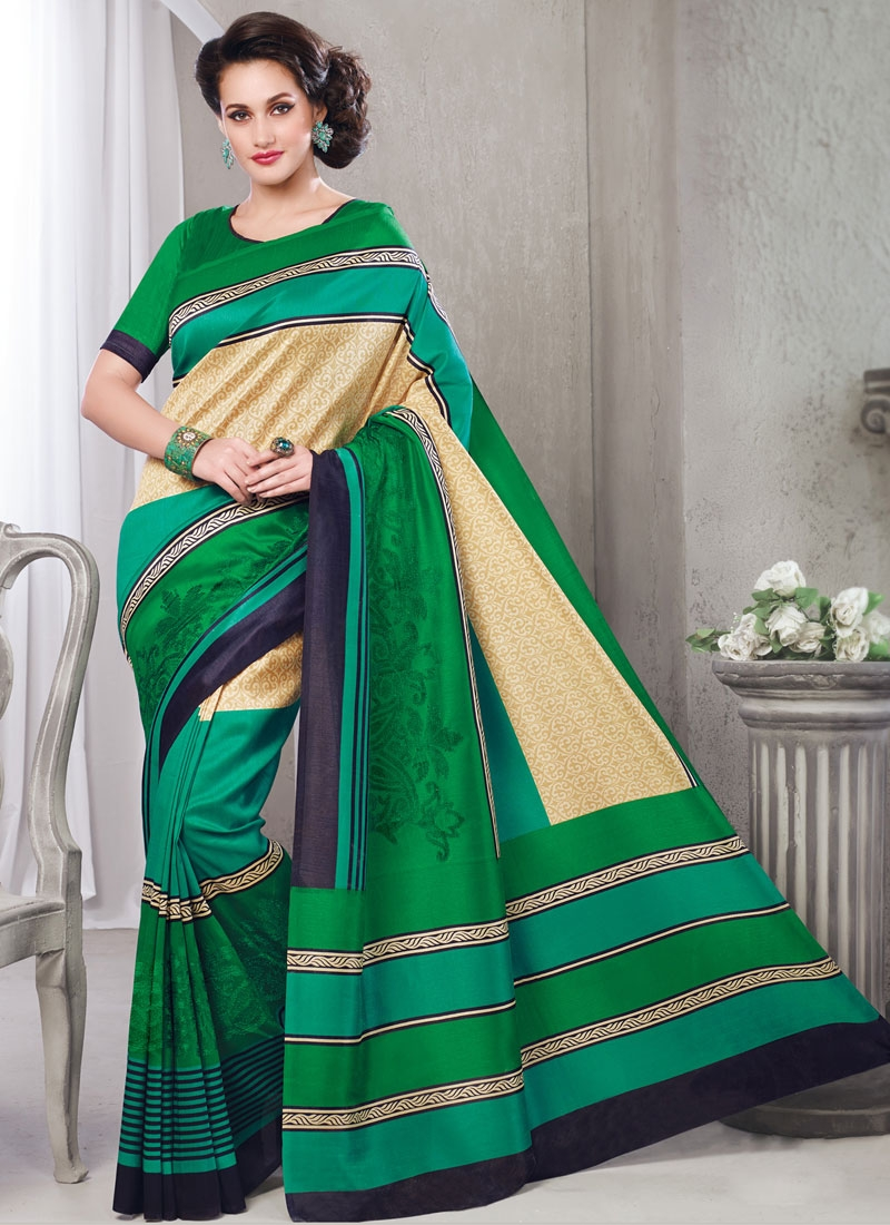 Superlative Green And Cream Color Casual Saree
