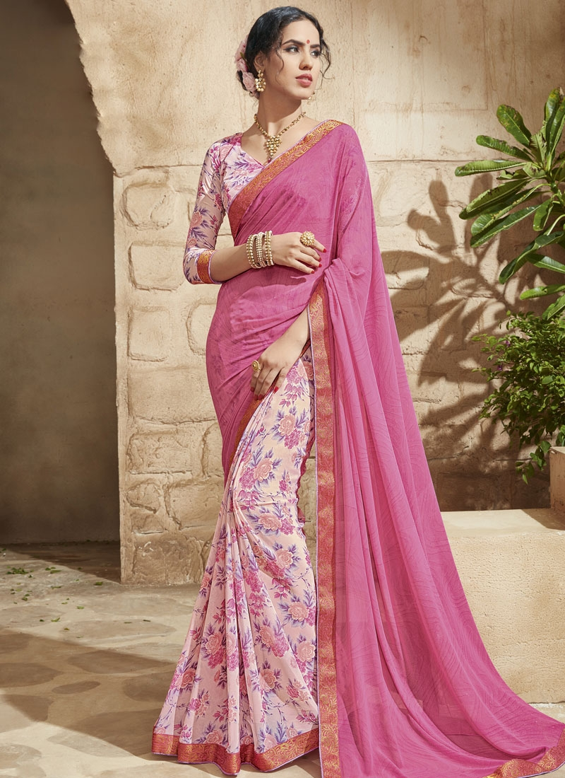 Superlative Hot Pink And Off White Color Half N Half Party Wear Saree