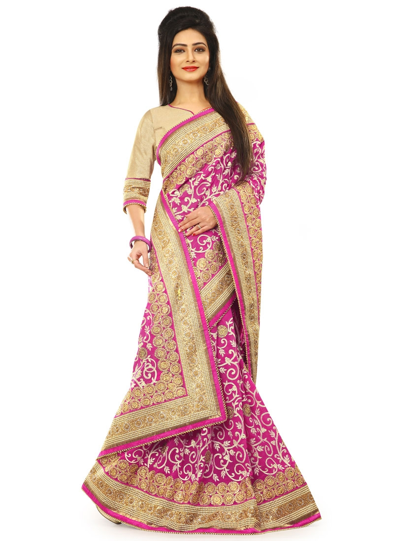 Superlative Jaal Work Pure Georgette Wedding Saree