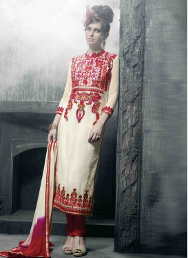 Superlative Lace And Multi Work Pakistani Salwar Kameez