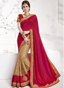Superlative  Lace Work Beige and Red Jacquard Half N Half Trendy Saree