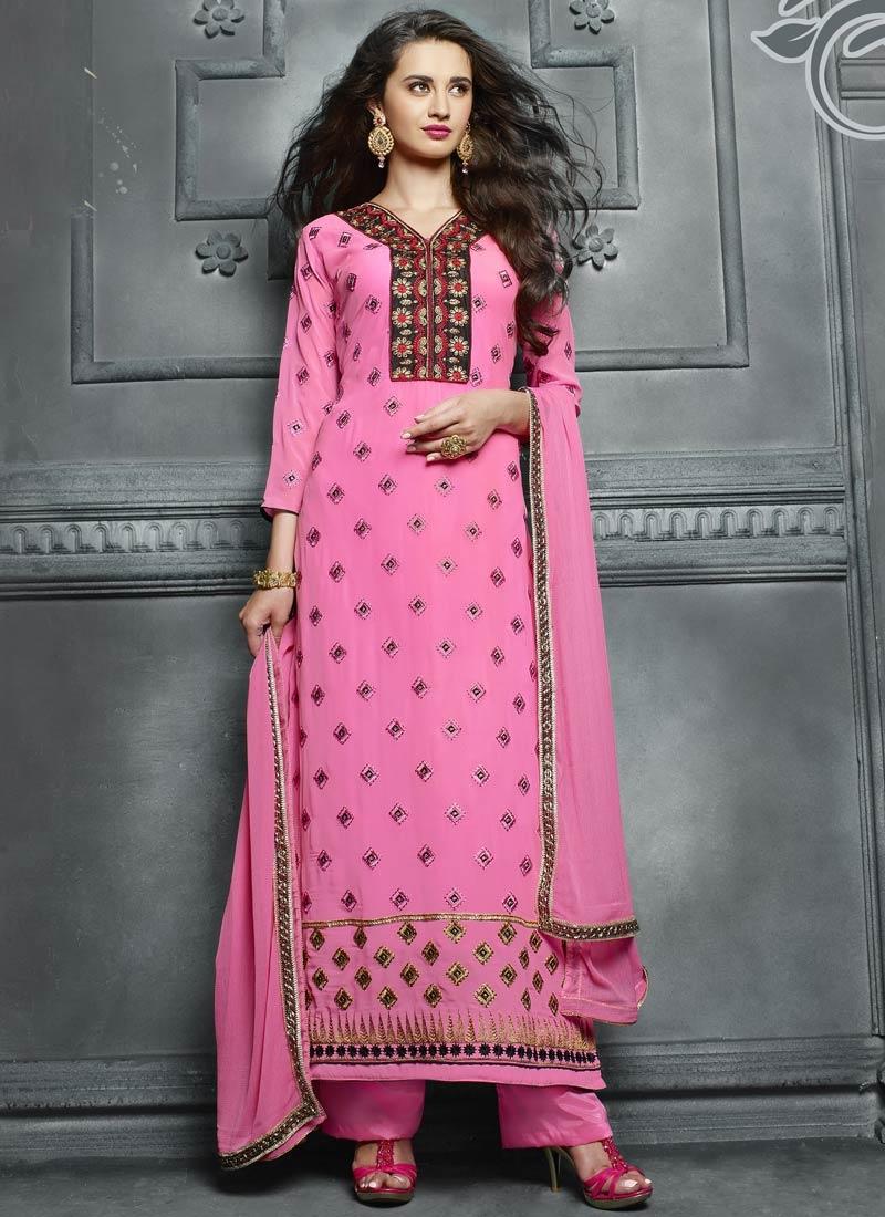 Superlative Lace Work Faux Georegette Pant Style Pakistani Suit