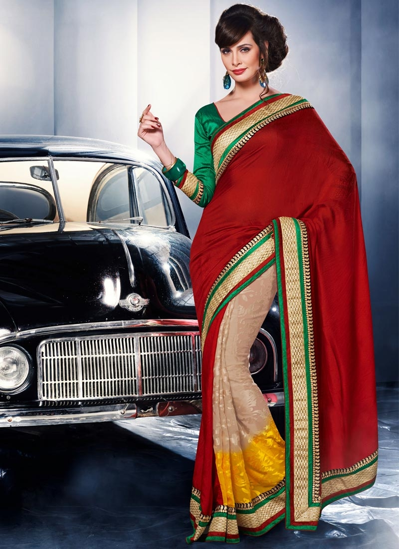 Superlative Lace Work Half N Half Party Wear Saree