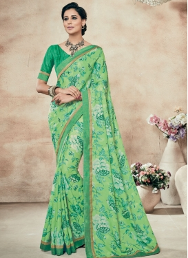 Superlative Lace Work Mint Green Color Party Wear Saree