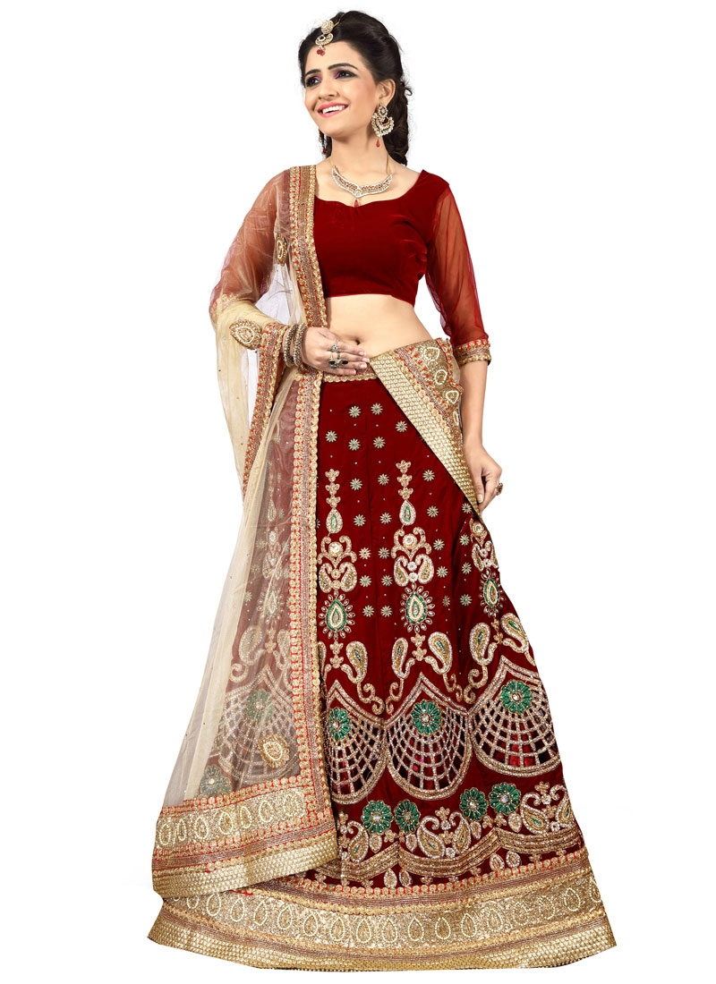 Superlative Maroon Color Velvet Bridal Lehenga Choli