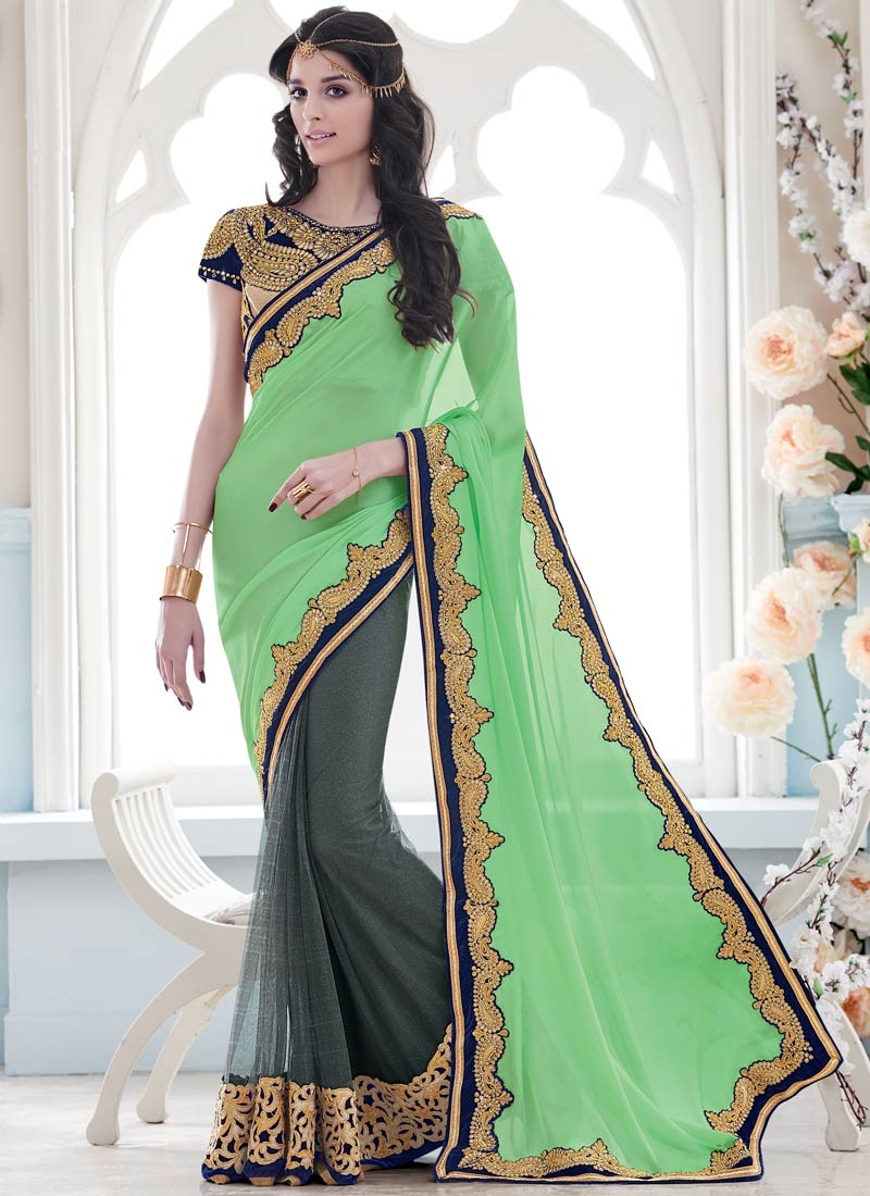 Superlative Mint Green Color Half N Half Designer Saree