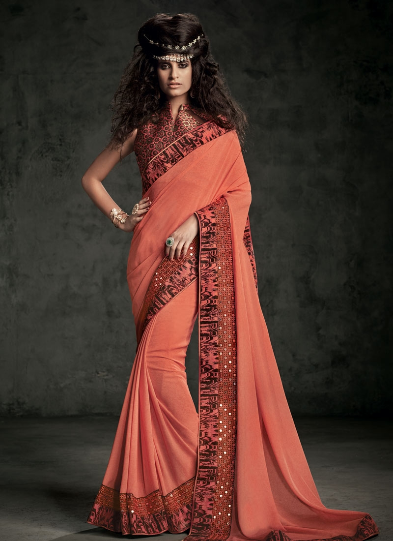 Superlative Mirror Work Party Wear Saree