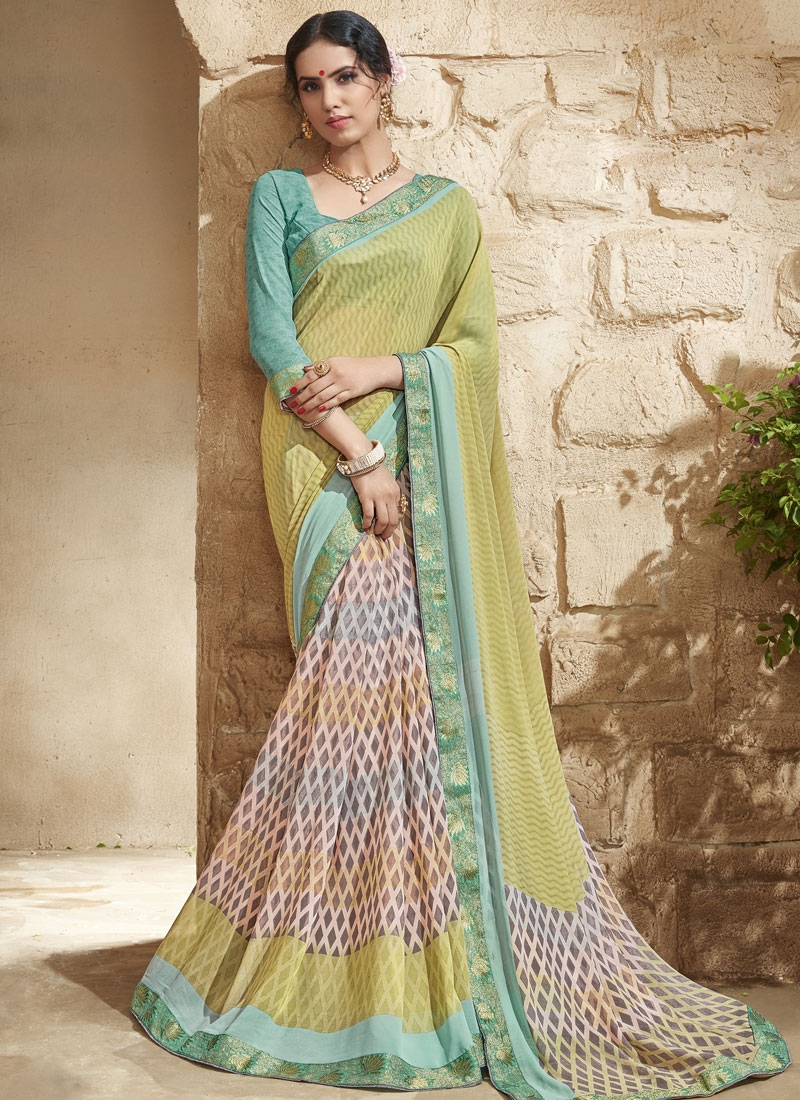 Superlative Multi Color Lace Work Half N Half Party Wear Saree