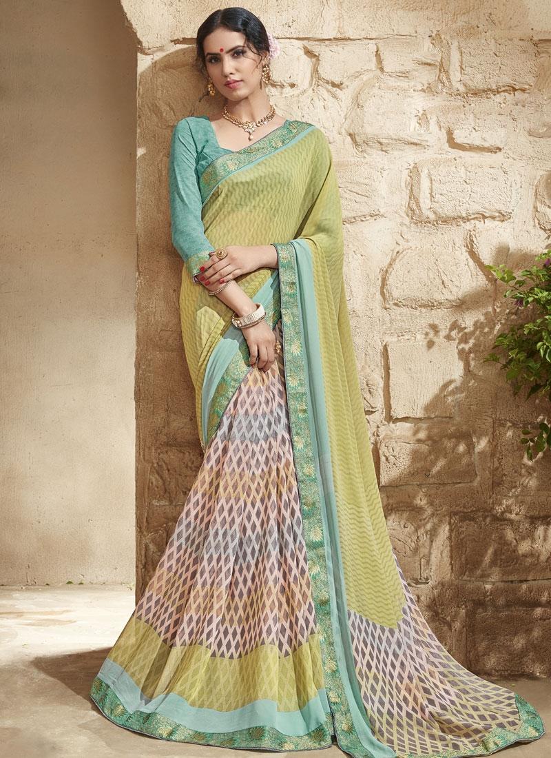 Superlative Multi Color Lace Work Half N Half Party Wear Saree