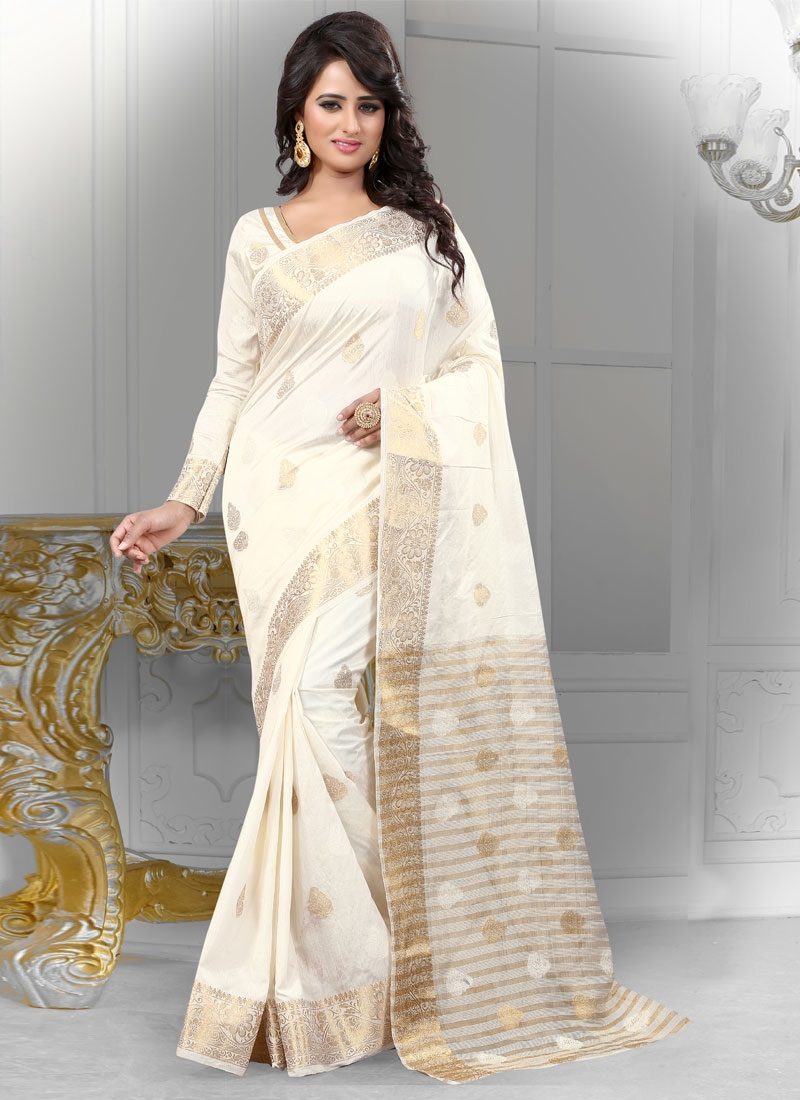 Superlative Off White Color Party Wear Saree