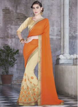 Superlative Orange And Cream Color Half N Half Party Wear Saree