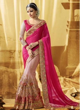 Superlative Patch Border Work Net Pink and Rose Pink Half N Half Designer Saree