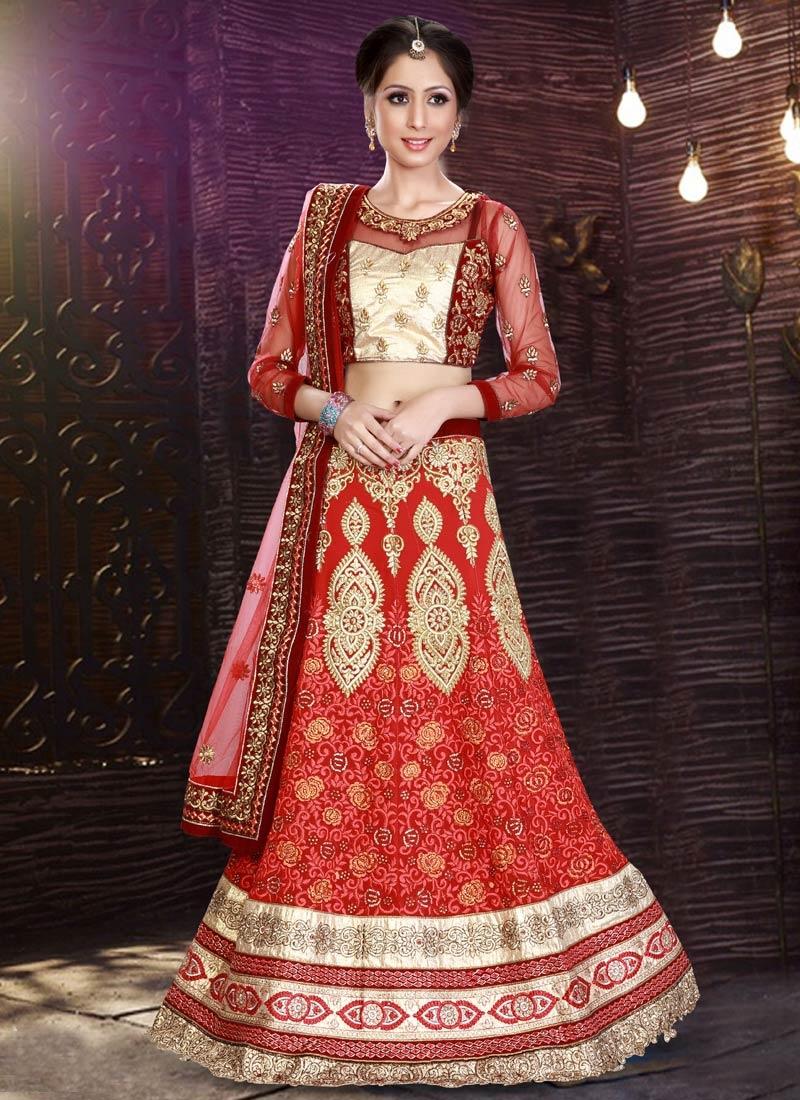 Superlative Patch Border Work Red Color Bridal Lehenga Choli