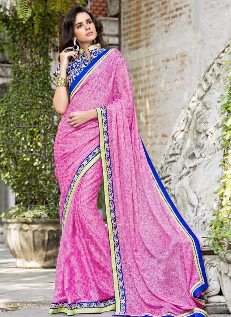 Superlative Printed Chiffon Satin Party Wear Saree