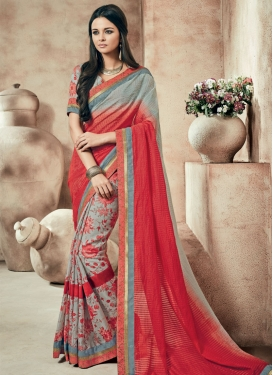 Superlative Red And Grey Color Party Wear Saree