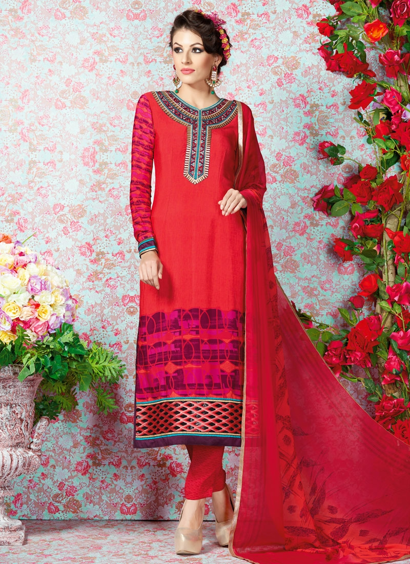 Superlative Red Color Sequins Work Casual Salwar Kameez