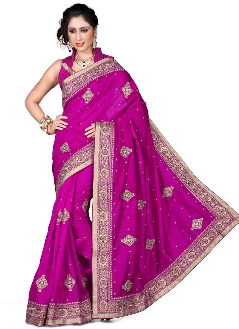 Superlative Resahm Work Fuchsia Color Designer Saree